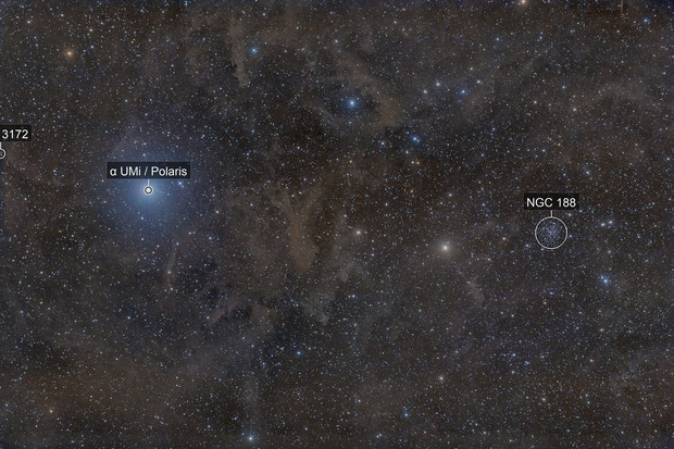 Surrounding flux nebula From the star polaris to the open cluster NGC 188!