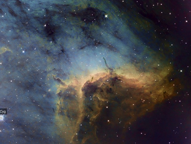 Pelican Nebula (IC50701) close up in HST + Hα as luminance