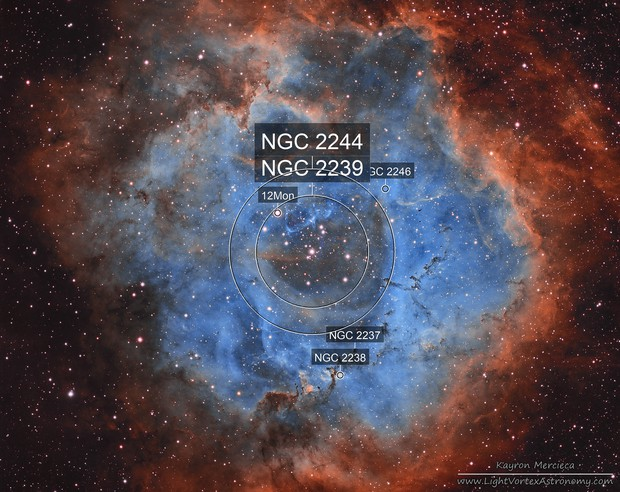 NGC2237 Rosette Nebula in Narrowband Hubble Palette