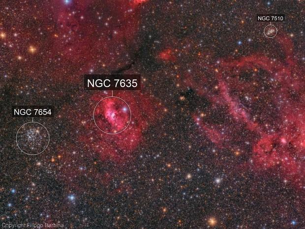 M52, NGC7635 Bubble Nebula and Sh2-157 Lobster Claw Nebula