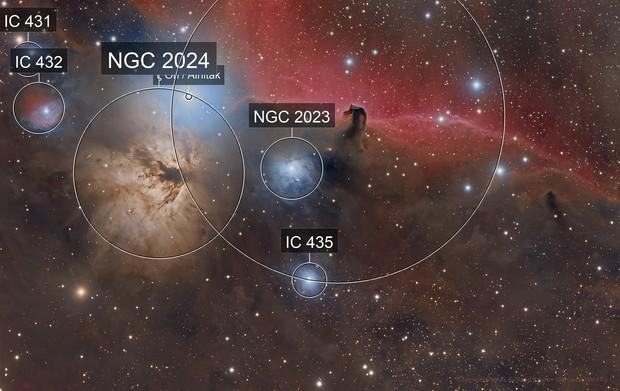 IC 434/B33/Flame  AKA The HorseHead Nebula