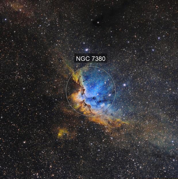 NGC 7380 - La nébuleuse du sorcier en SHO