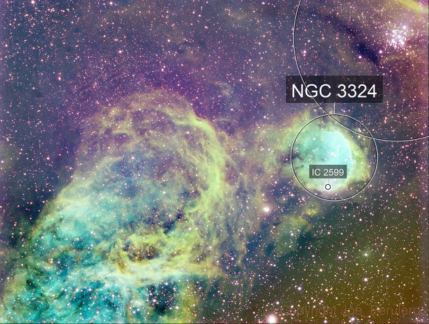 NGC3324 The Gabriela Mistral Nebula and surrounds