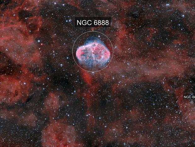 Crescent nebula & Soap in HOO