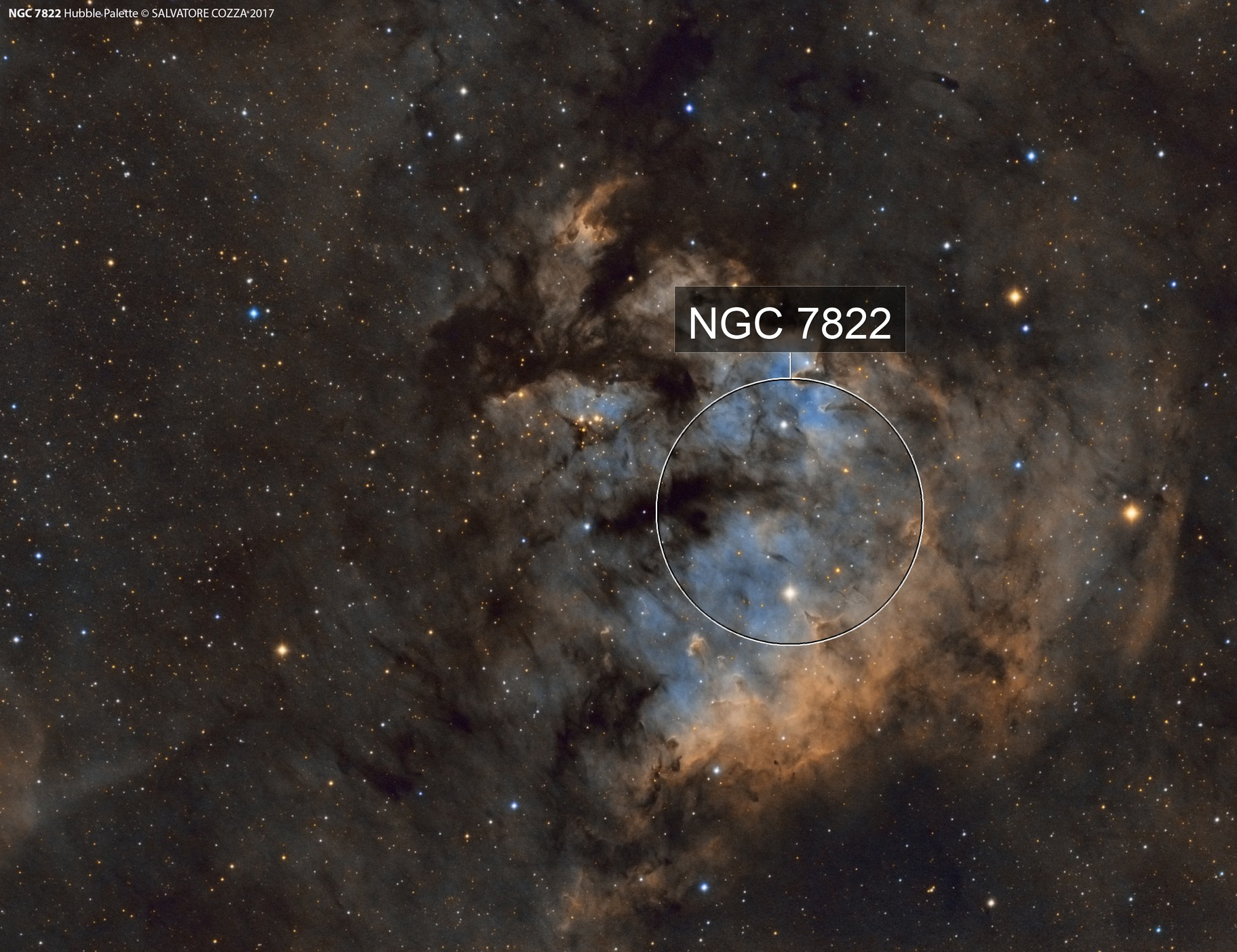 NGC 7822 in Hubble Palette
