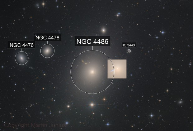M87 - Virgo A - NGC 4486 - Supergiant Elliptical Galaxy (core enlarged)