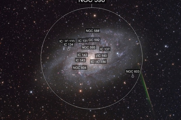 M33 with a meteor
