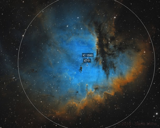 Pacman Nebula in Cassiopeia
