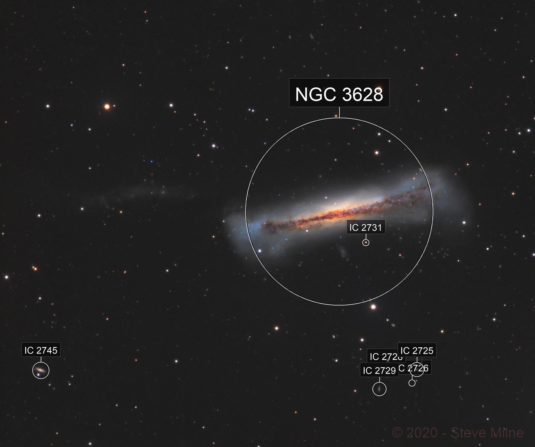 Hamburger Galaxy (NGC 3628) in Leo