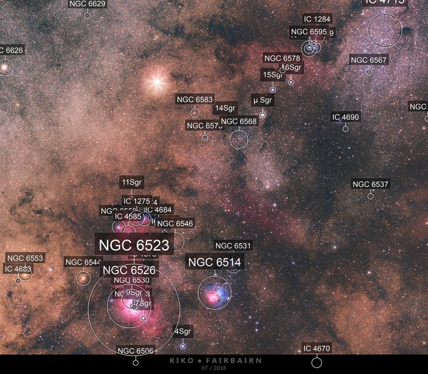 Saturn meets Lagoon, Trifid, M24 and others