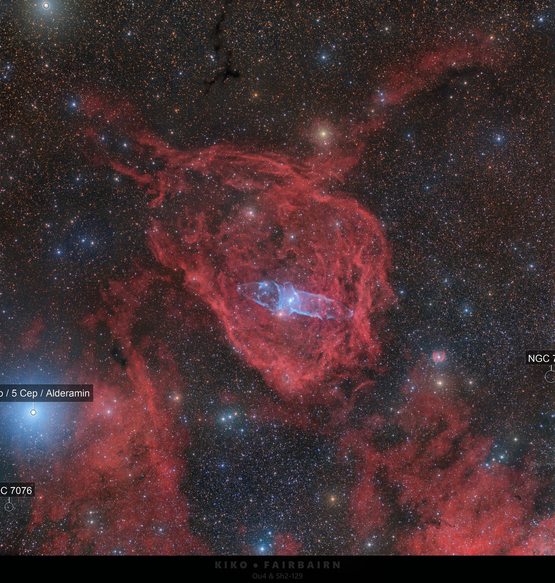 The Squid and the Flying Bat Nebulae   Ou4 and Sh2-129
