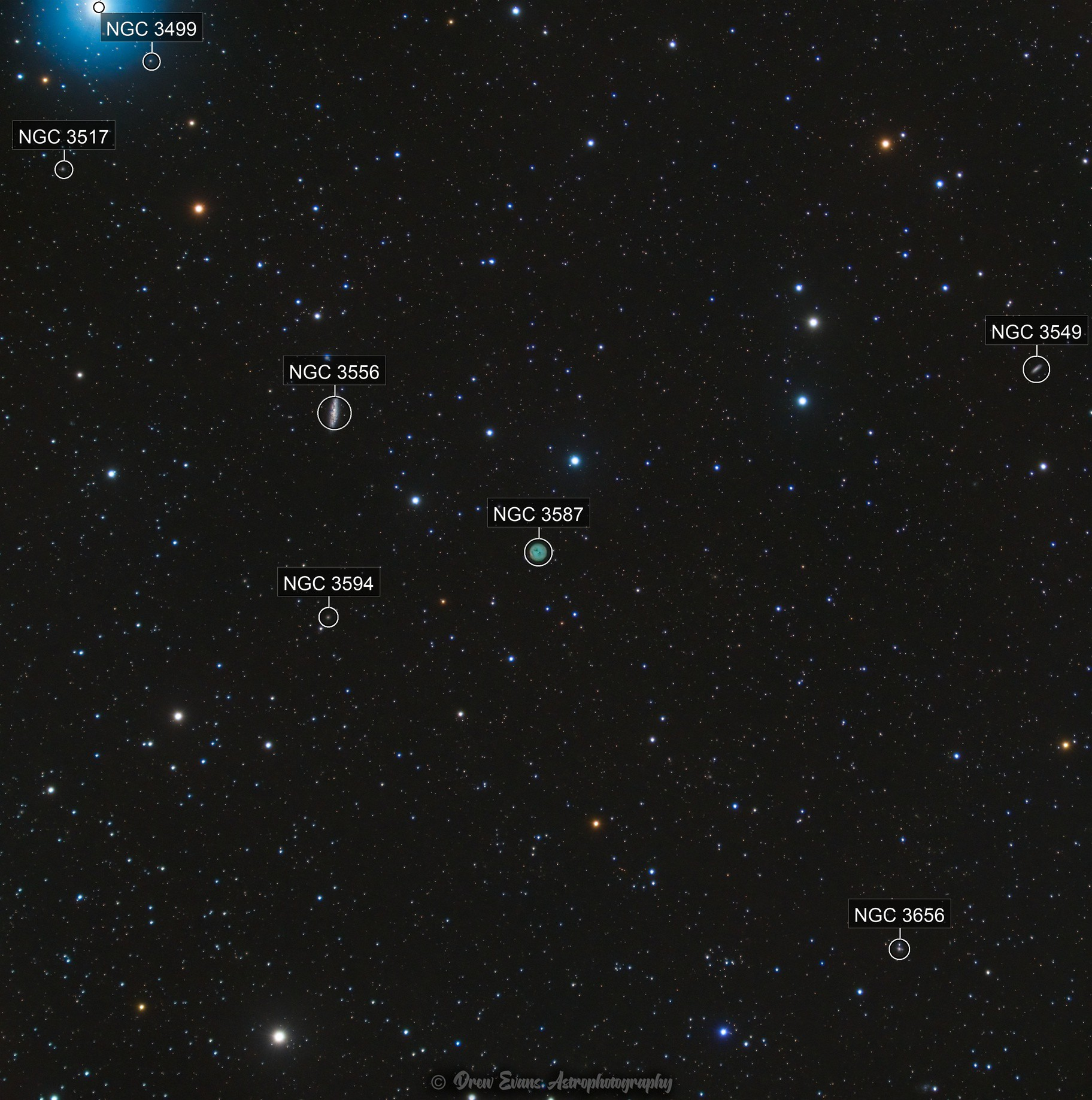 Widefield on the Owl Nebula and Surfboard Galaxy