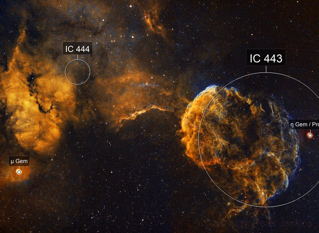 IC443 Jellyfish Nebula - 2 Panel Mosaic