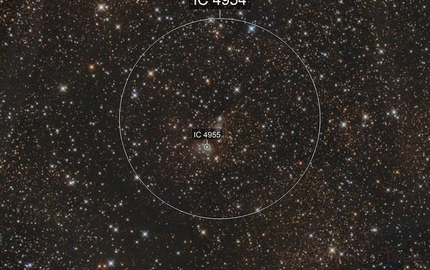 IC 4954 und IC 4955 im Sternbild Fuchs