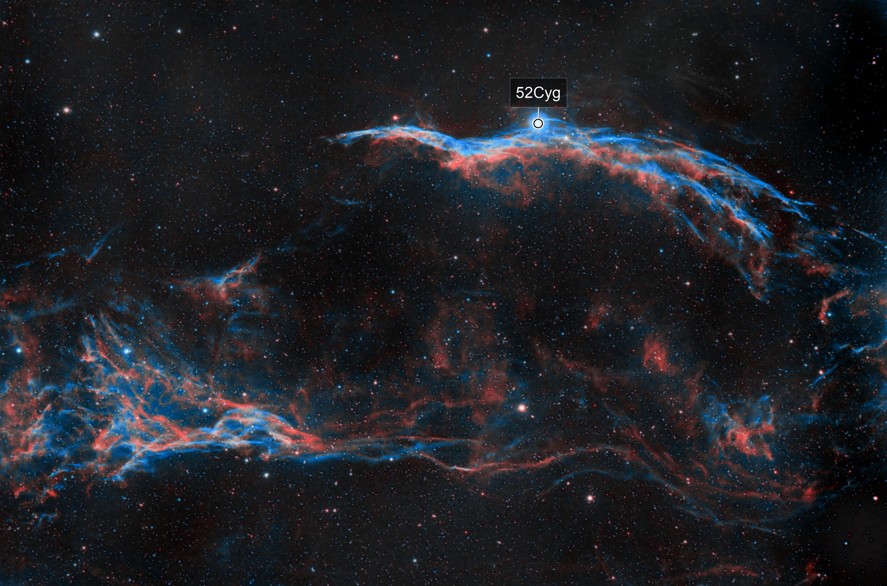 Western Veil Nebula and Pickering's Triangle in HOO