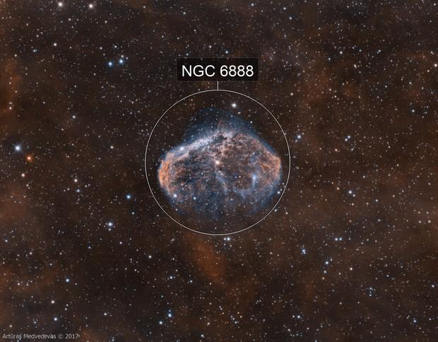 NGC6888 Crescent nebula in bicolor