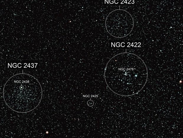 M 46, M 47, NGC 2423