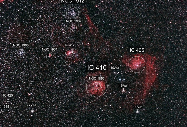 Clusters and Nebulae in Auriga