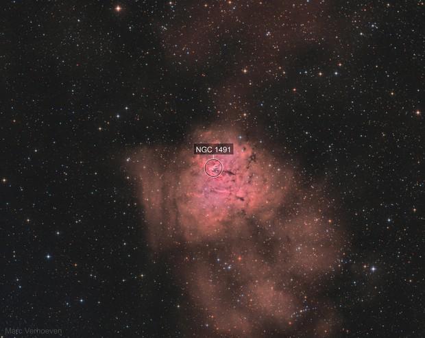 NGC 1491 The Fossil Footprint Nebula / HOO