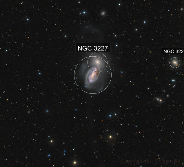 NGC 3226 and 3227 (Arp 94) with long tidal tail
