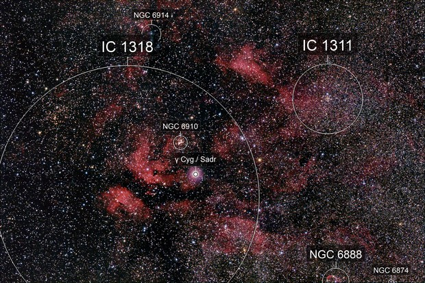 IC 1318 + IC 1311 in Cygnus