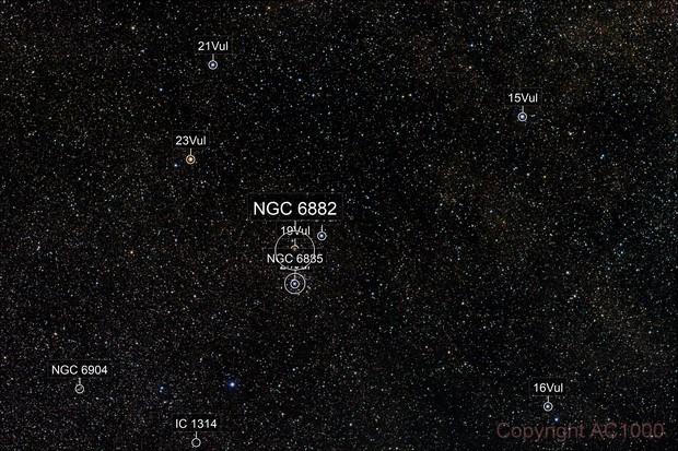 Open clusters NGC 6882 + 6885