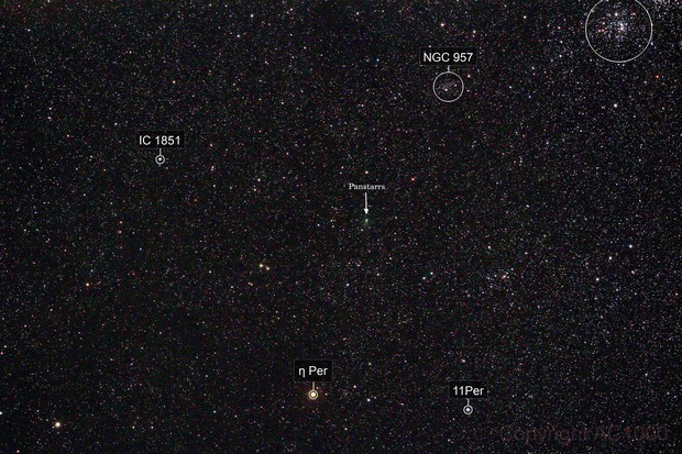 On the way to h+χ Persei - Comet C/2017 T2 Panstarrs