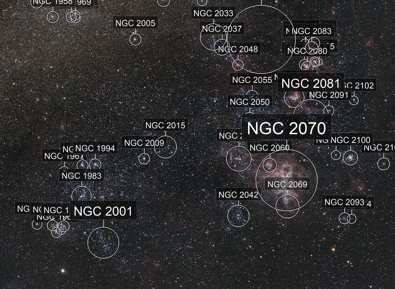 The Tarantula Nebula (NGC 2070) and its companions in the Large Magellanic Cloud