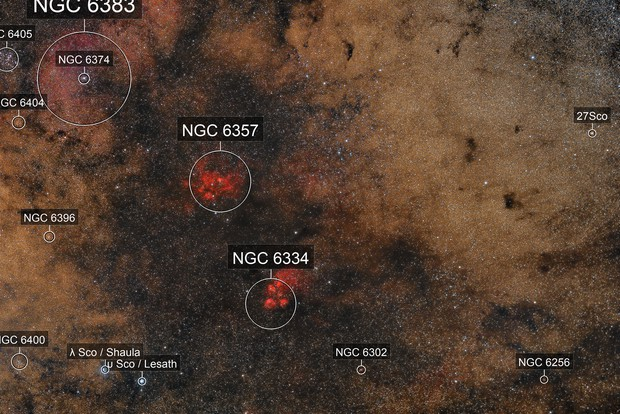 NGC 6334 Cat's Paw & NGC 6357 Lobster Nebulae (Widefield)