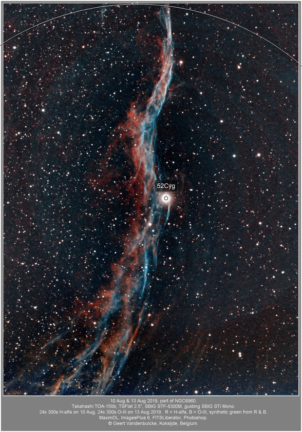 NGC6960, part of the Veil Nebula, bicolor 20190811 (Ha) & 20190813 (O3)