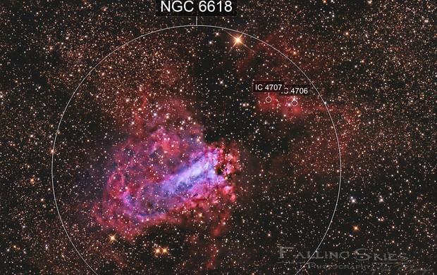 M17 Omega Nebula with blue Swan OIII