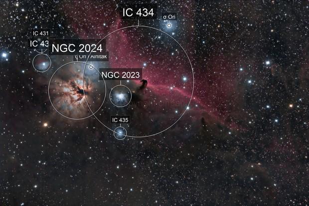 Horsehead ( Barnard 33) and Flame nebula area