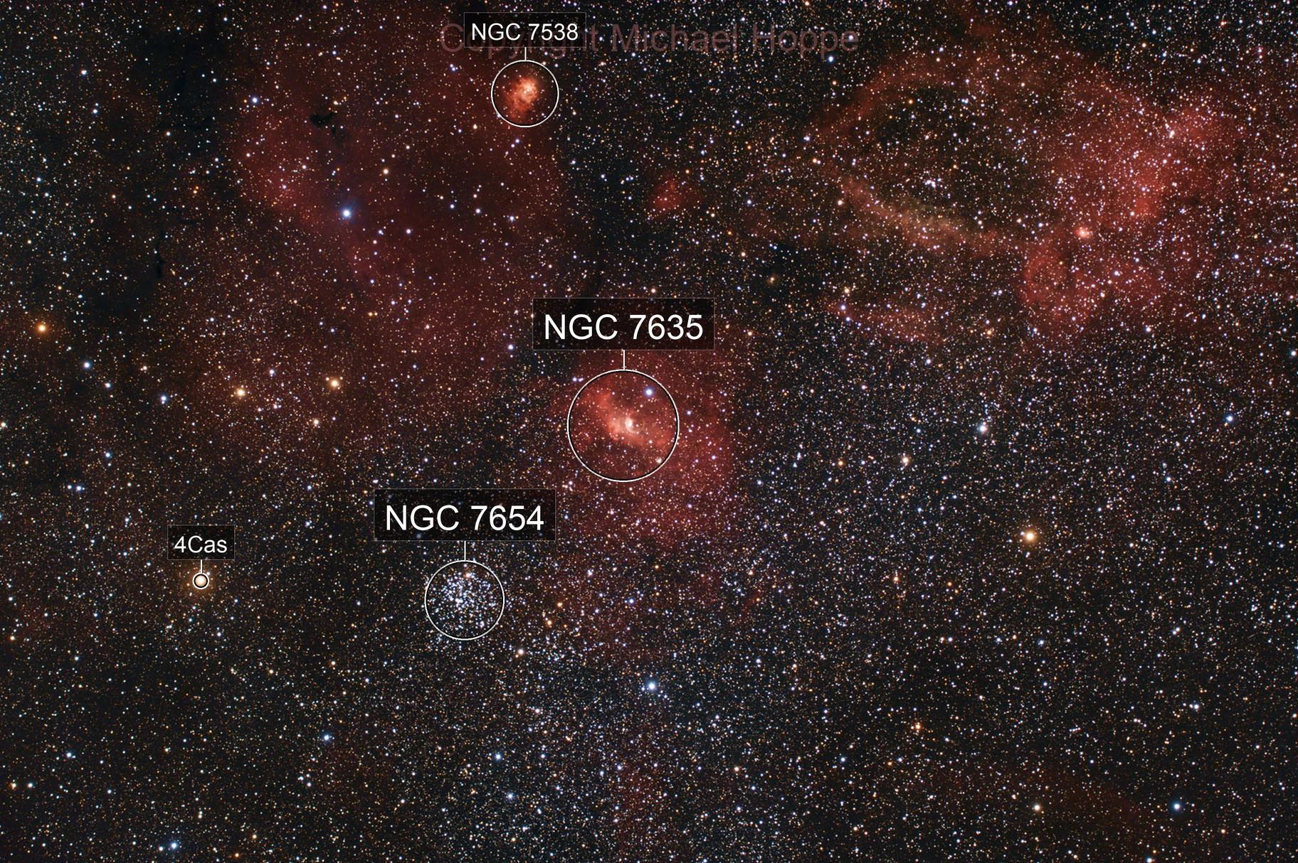NGC 7635, Sh 2 - 161, Sh 2 - 157 & Co