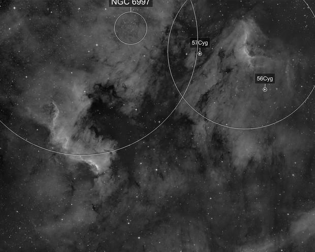 North Amerika & Pelican Nebula in Ha