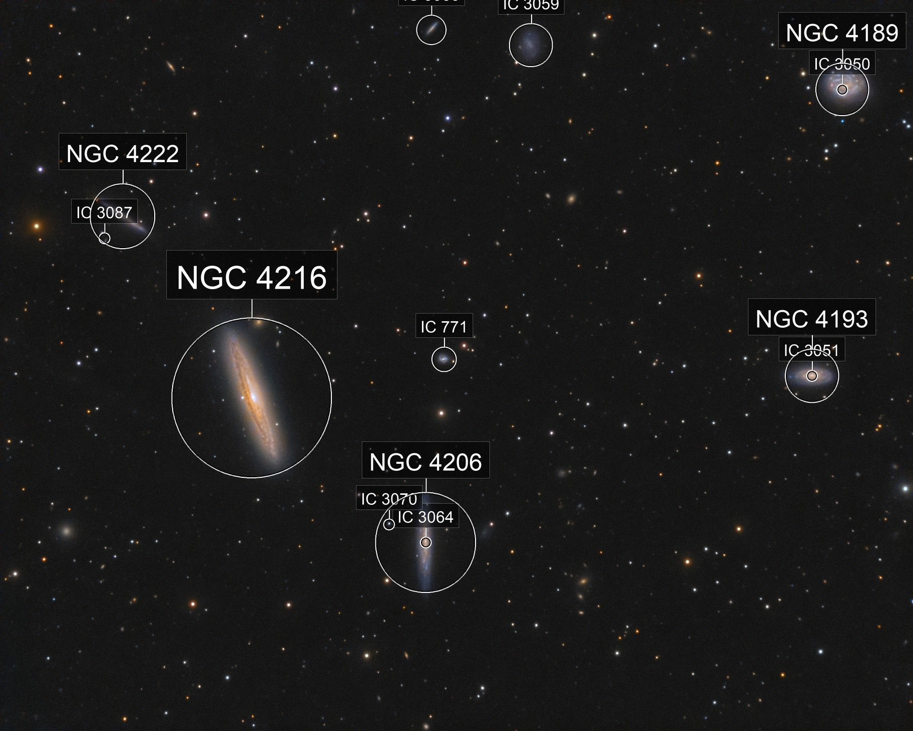 The Silver Streak Galaxy, NGC 4216 and friends