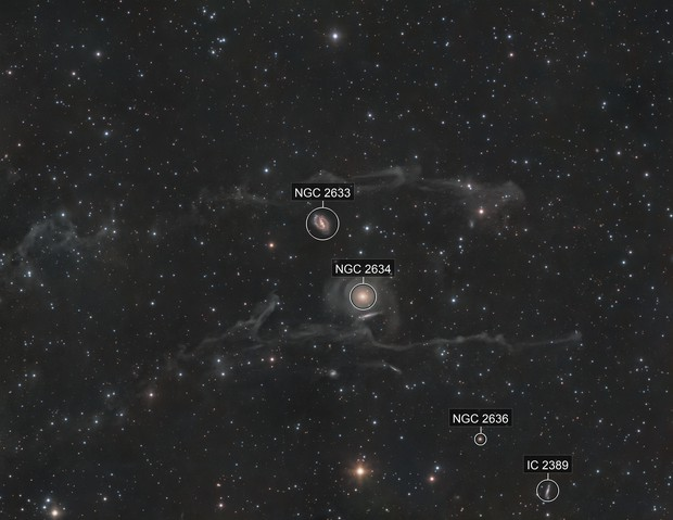 NGC 2633 & NGC 2634 behind the IFN
