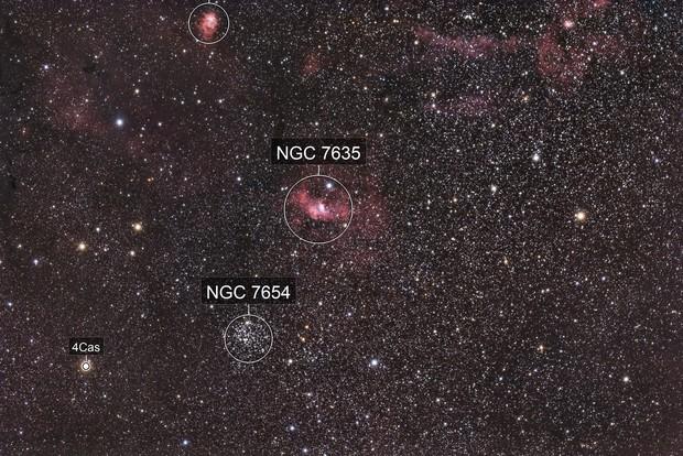 M52 et La Bulle (NGC 7635)