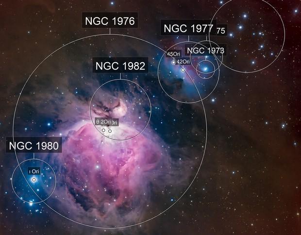 The Great Orion Nebula and Running Man Nebula (Ha-LRGB)