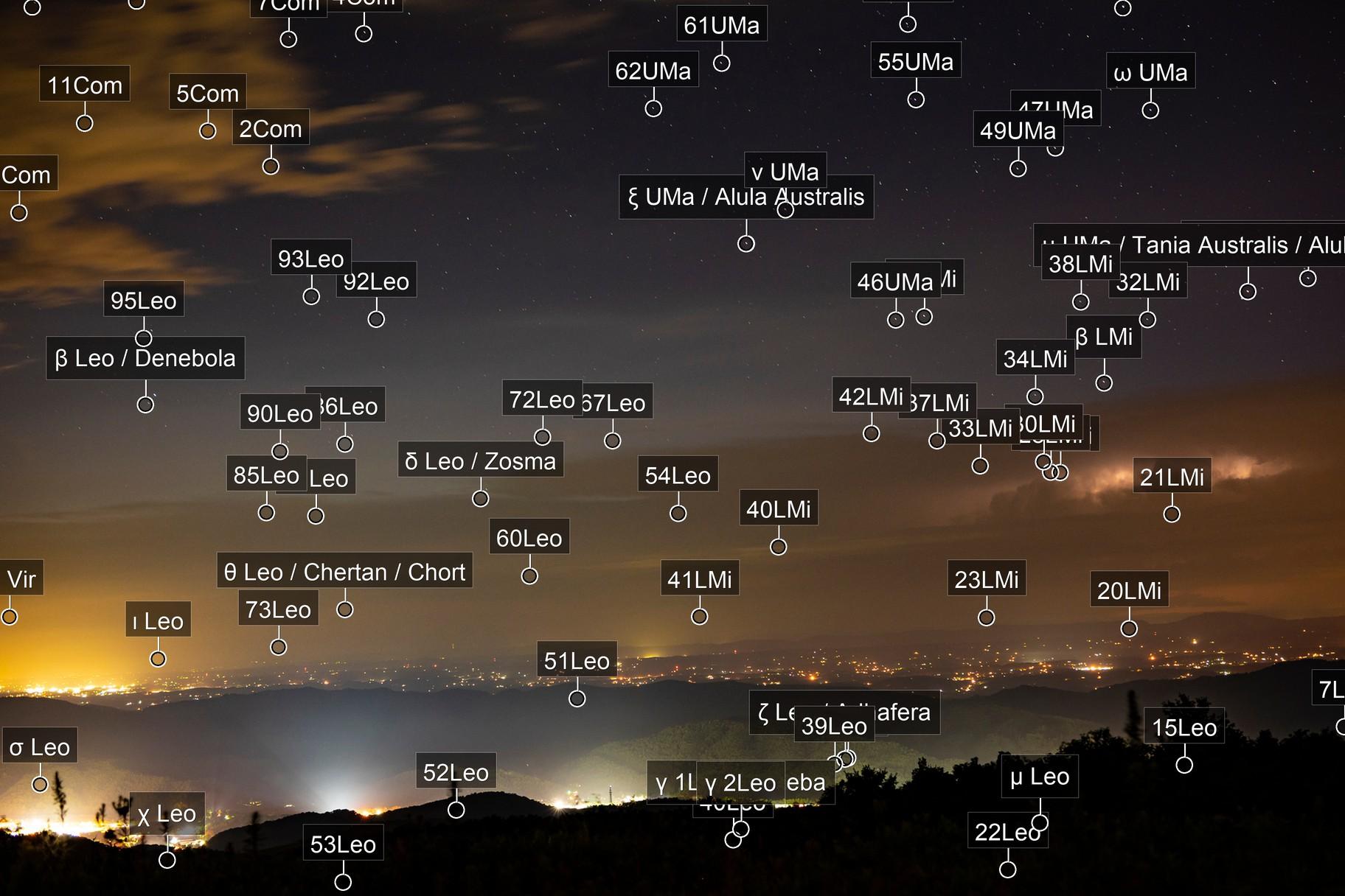 Stars, Clouds, Mountains, Lightning, Lightpollution