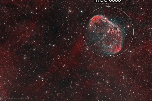 NGC 6888 Crescent Nebula and PN G75.5+1.7 Soap Bubble Nebula, bicolor