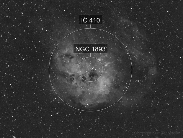 IC 410, NGC 1893, and the Tadpoles - in Ha