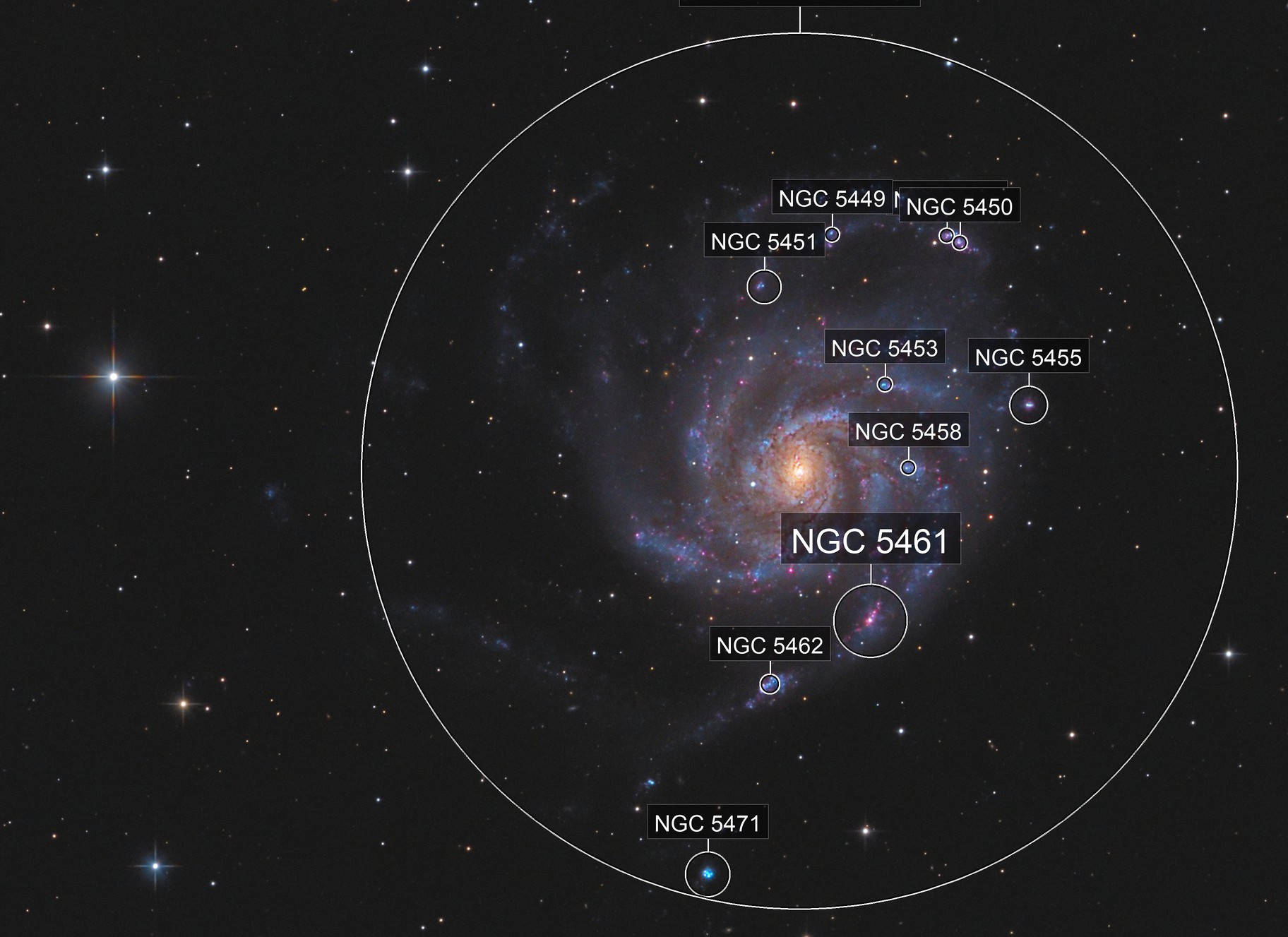 M101 Galaxy - Fine structures from light polluted skies