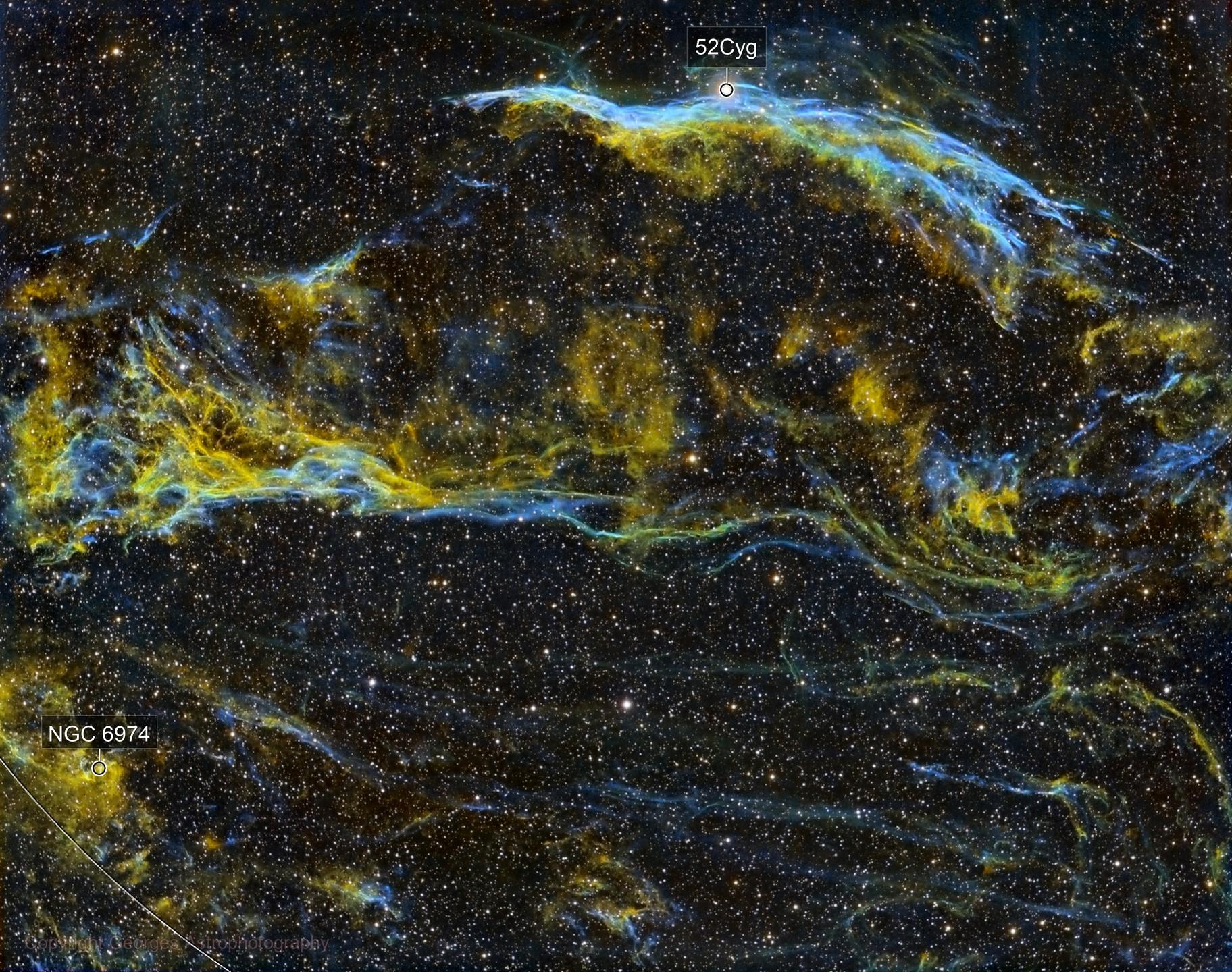 NGC6960 et le triangle de Pickering en SHO, version 1