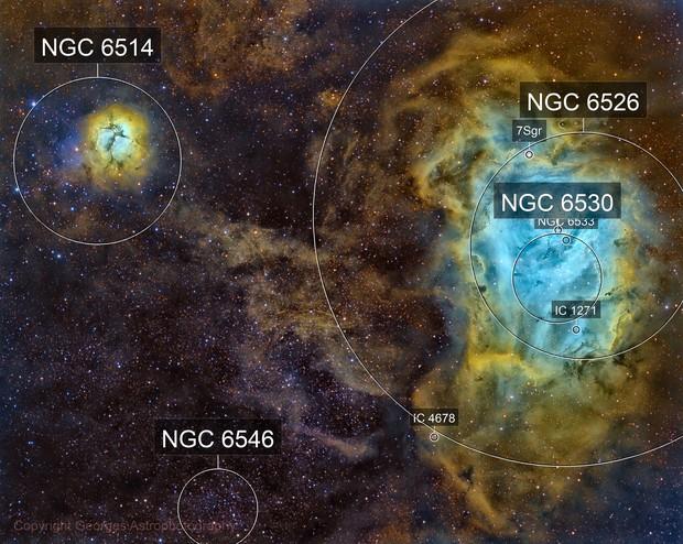 Messier 8 & Messier 20 en SHO