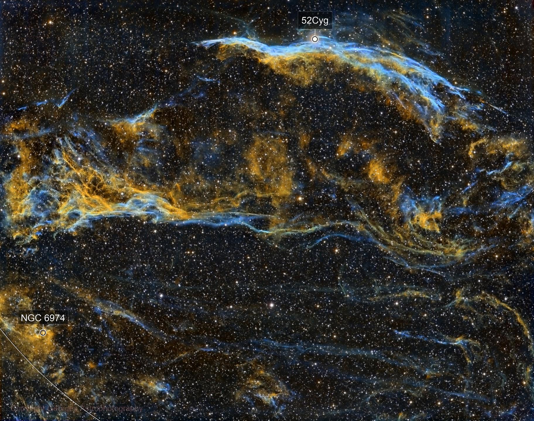 NGC6960 et le triangle de Pickering en SHO, version 2