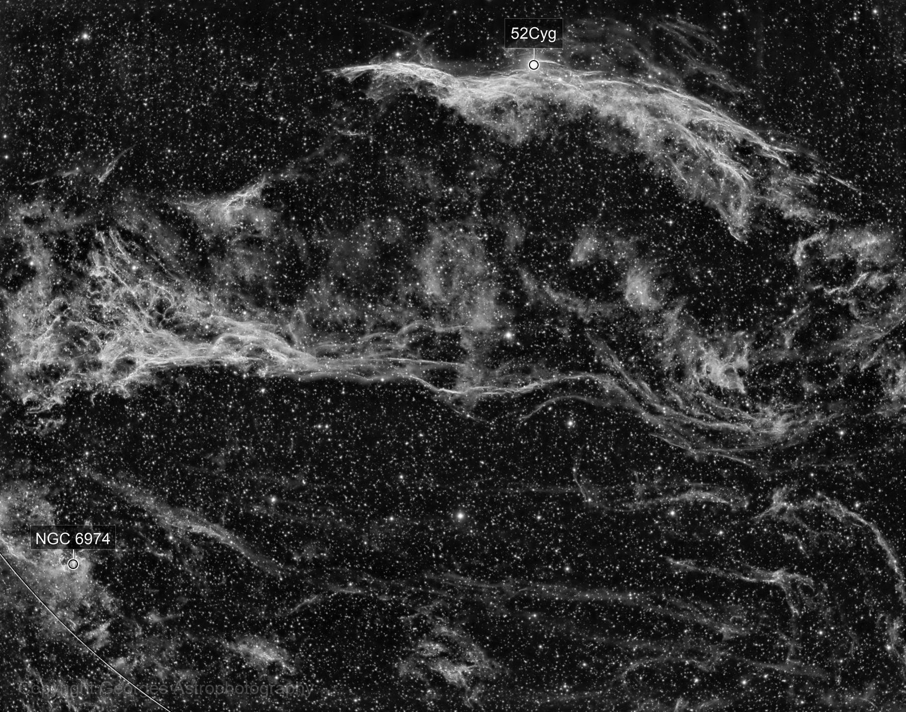 NGC6960 et le triangle de Pickering en Halpha
