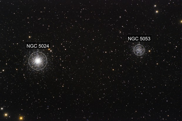 M53 and M5053 two distant companions but so close in that field