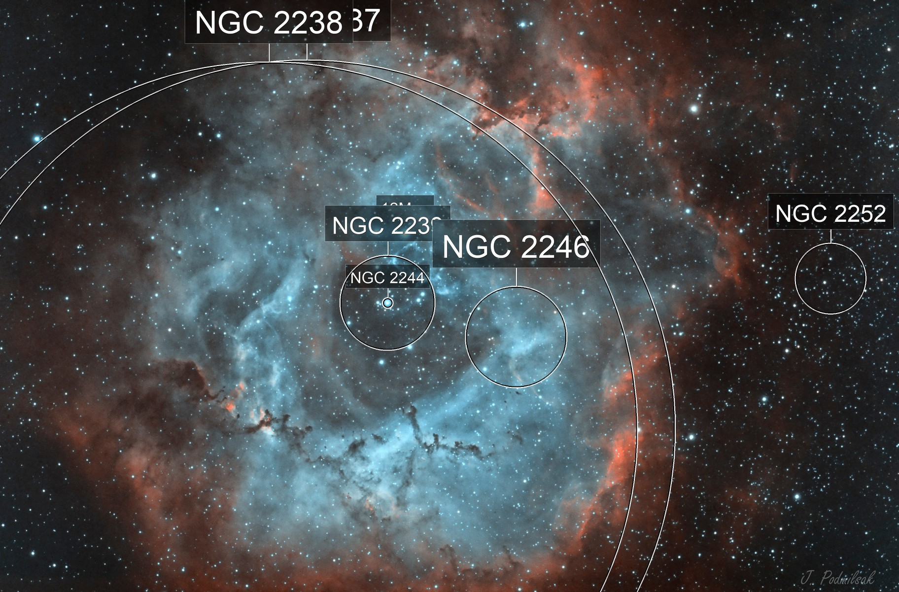Rosette NGC2239 HOO with color camera