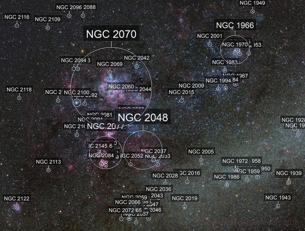 The region around the Tarantula nebula
