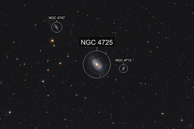 NGC 4725 Tie Fighter Galaxy